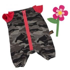 Комбинезон на молнии серый к ярко-розовому цветку из фетра BudiBasa для Басика 19 см