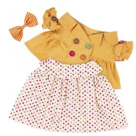 Оранжевый плащ и платье в разноцветный горох BudiBasa для Лили 27 см