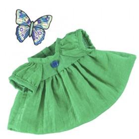 Зеленое платье с синей пуговкой BudiBasa для Зайки Ми 18 см