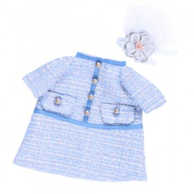 Платье голубое в клетку BudiBasa для Зайки Ми 18 и 25 см