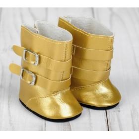 Сапоги для пупса и игрушек 27-30 см «Застёжки», длина подошвы: 7 см, цвет золото