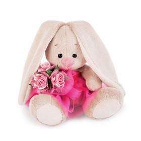 Зайка Ми в розовой юбочке и с букетом (малыш) 15 см