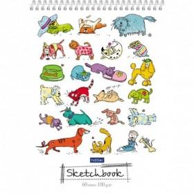 Блокнот SketchBook 60л А5ф без линовки Пластиковая обложка на пластик.спирали-Прикольные животные-