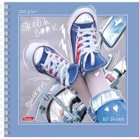 Premium` Тетрадь SketchBook 80л А5ф 170х170мм 120г без линовки с твердой обложкой на гребне-КЕДЫ-