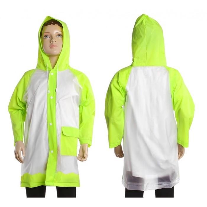 """Дождевик детский """"Гуляем под дождем"""", зеленый, р-р L, 110-120 см"""