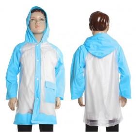 """Дождевик детский """"Гуляем под дождем"""", голубой, M 100-110 см"""