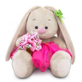 Зайка Ми c букетом в розовой юбке (малыш)
