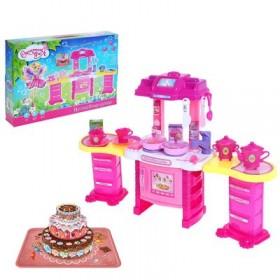 """Игровой набор """"Хозяюшка"""" с посудой, световые и звуковые эффекты, работает от батареек, высота: 50 см, БОНУС — картонный торт, книга рецептов """"Готовим с мамой"""""""