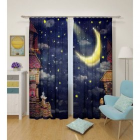 Комплект штор Звездная ночь, ширина 145 см, высота 260 см 2 шт, габардин