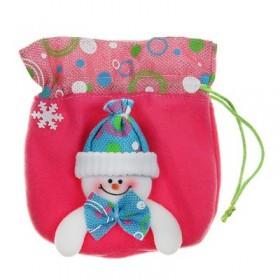 """Мешок для подарка """"Весёлый снеговик"""" (розовый)"""