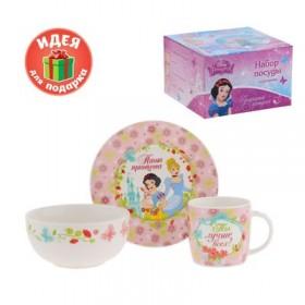 """Набор детской посуды """"Наша принцесса"""" Принцессы, 3 предмета, тарелка, пиала, кружка"""