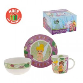 """Набор детской посуды """"Подружка"""" Феи, 3 предмета, тарелка, пиала, кружка"""