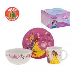 """Набор детской посуды """"Самой красивой"""" Принцессы, 3 предмета, тарелка, пиала, кружка"""