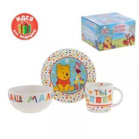 """Набор детской посуды """"Ты чудо"""" Медвежонок Винни и его друзья, 3 предмета, тарелка, пиала, кружка"""