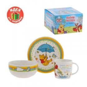 """Набор детской посуды """"Вместе веселее"""" Медвежонок Винни и его друзья, 3 предмета, тарелка, пиала"""