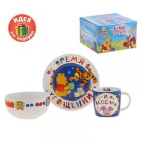 """Набор детской посуды """"Время угощений"""" Медвежонок Винни и его друзья, 3 предмета, тарелка, пиала"""