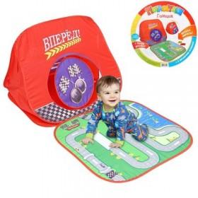 """Палатка-домик """"Гонщик"""" c полем для игры + 2 игрушечные машинки"""