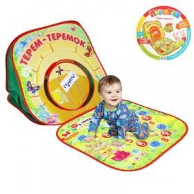 """Палатка-домик """"Терем-теремок"""" с игрой-бродилкой + 2 фигурки для игры, игральный кубик"""