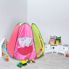 """Палатка конусная """"Радужный домик"""", 6 граней, цв.:розовый/коралл/лимон"""