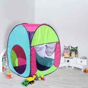 """Палатка квадратная """"Радужный домик"""", 4 грани, цв.: фиолетовый/лимон/розовый/бирюза"""