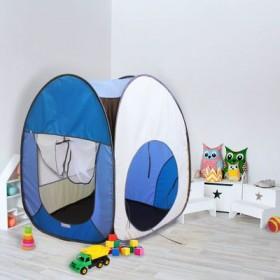 """Палатка квадратная """"Радужный домик"""", 4 грани, цв.: коричневый/яркий голубой/голубой/бежевый"""