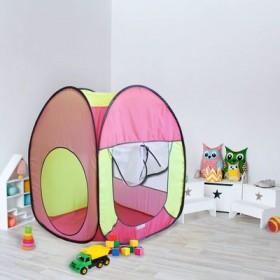 """Палатка квадратная """"Радужный домик"""", 4 грани, цв.: розовый/коралл/лимон"""