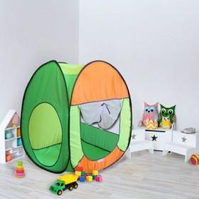 """Палатка квадратная """"Радужный домик"""", 4 грани, цв.: салатовый/оранж/лимон"""