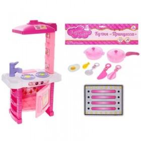 """Игровой набор """"Кухня"""" с посудой и аксессуарами, световые и звуковые эффекты, работает от батареек, высота 54 см, БОНУС - вырезная бумажная кукла с одеждой"""