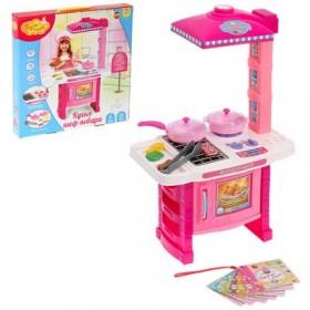 """Игровой набор """" Кухня шеф-повара"""", розовая, 7 предметов, световые и звуковые эффекты, работает от батареек, высота 51 см, БОНУС - кулинарная книга"""