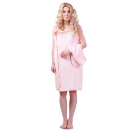 Халат-полотенце, розовый «С ЛЕГКИМ ПАРОМ»