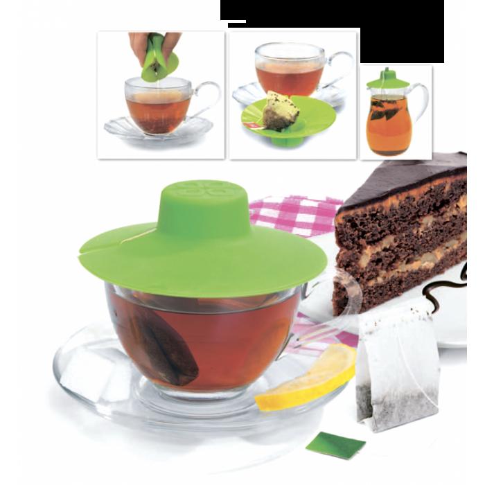 Крышка для заваривания и отжима чайных пакетиков, зеленая