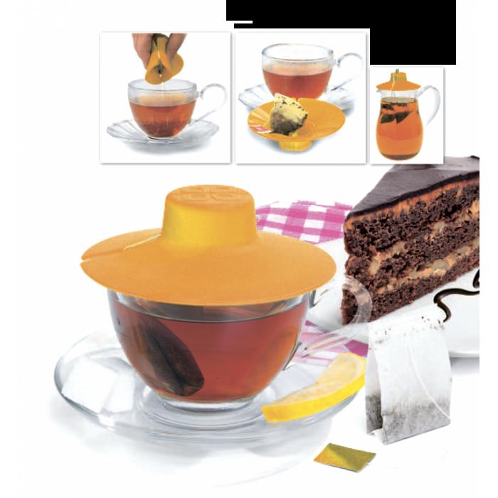 Крышка для заваривания и отжима чайных пакетиков, оранжевая