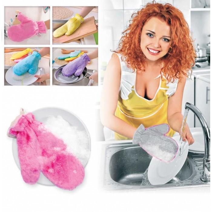 Варежкa двусторонняя для мытья посуды и уборки, голубая