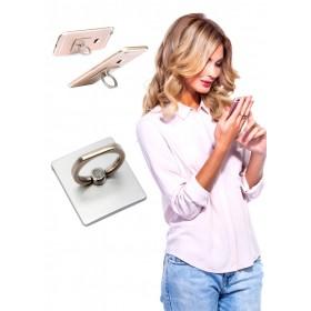 Кольцо-держатель и подставка для телефона и планшета, серебряное