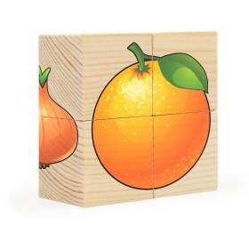 Фрукты-овощи. Собери рисунок. Кубики-пазл (4 кубика), арт. AN-RDI-D479a