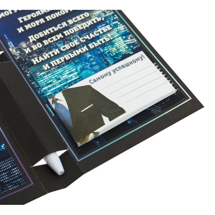 """Ручка на открытке с бумажным блоком """"Больших побед!"""", 20 листов"""
