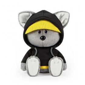 Волчонок Вока в черной толстовке с капюшоном