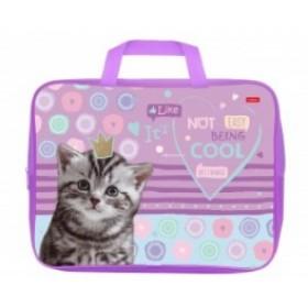 Сумка Текстильная с РУЧКАМИ Hatber А4ф для тетрадей ширина 7см -Cool kitty-