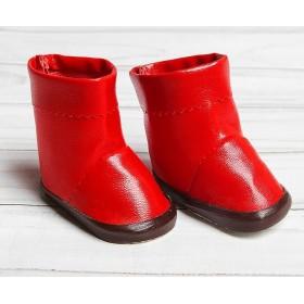 Сапоги с отворотами для игрушек, длина подошвы 6,5 см, цвет красный