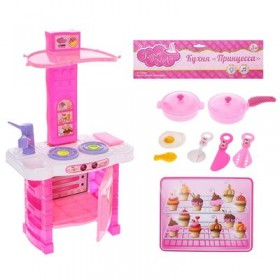 """Набор игровой """"Принцесса"""": посуда, аксессуары, БОНУС - бумажные кукла и одежда, световые и звуковые эффекты, работает от батареек"""