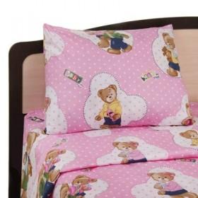 """Постельное бельё """"Этелька"""" бейби Медвежонок пинк, размер 110х140 см, 110х140 см, 40х60 см"""