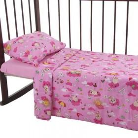 Постельное бельё Карамелька Овечки розовый112*147см, 60*100*20 см пр.на рез., 40*60 см 1 шт., трикотаж хлопок