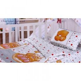 """Постельное бельё Облачко """"Влюблённый медвежонок"""" детское, размер 115х147 см, простыня на резинке 60х120 см, 40х60 см-1 шт., бязь, 120 г/м2"""