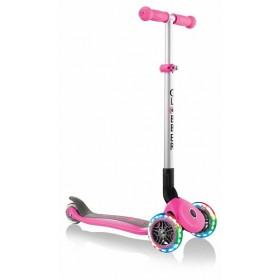 Самокат Globber Primo Foldable Lights розовый (фонарик Globber в подарок)