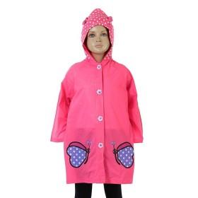 """Дождевик детский """"Розовые бабочки"""" на кнопках с капюшоном, р-р М, рост 100-110 см"""