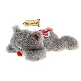 Мишка серый кудрявый, лежит на боку