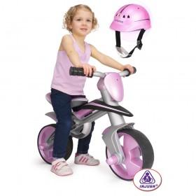 Беговел со шлемом, розовый