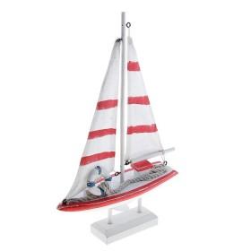 Яхта сувенирная малая, парус белый с красным