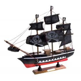 Корабль сувенирный средний, черные паруса