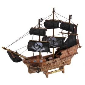 Корабль сувенирный, черные паруса с пиратским символом